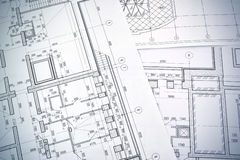 Drawing a floor plan of the building. Floor plan designed building on the drawing stock photography