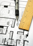 Drawing the floorplan with a pen and ruler. Drawing the floor plan with a pen and ruler Royalty Free Stock Photography