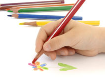 Drawing of flower. Child hand drawing colorful flower Stock Photo