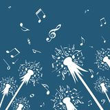 Flowers of dandelion with music notes. stock illustration