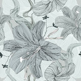 Drawing flower - Illustration. This is the vector illustration of flower in seamless pattern Royalty Free Stock Photography