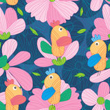 Drawing Flower Line Art Bird Seamless Pattern Royalty Free Stock Photography