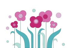 Drawing flower pattern in a cartoon style vector Royalty Free Stock Photography