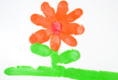 Drawing of flower from plasticine. Drawing of flower on green grass from plasticine Royalty Free Stock Images