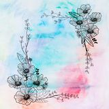 Drawing flower and rainbow watercolor Royalty Free Stock Photography