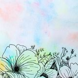 Drawing flower and rainbow watercolor Stock Images