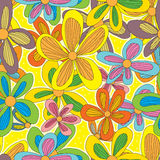 Drawing Flower Star Seamless Pattern Royalty Free Stock Photos