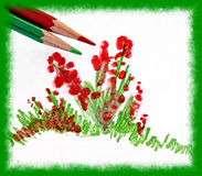 Drawing Flowers. Artistic design of colored pencils and artwork of paper drawing red and green flowers Stock Photography