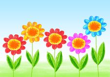 Drawing of flowers Royalty Free Stock Images