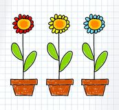 Drawing of flowers Stock Photos