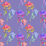 Drawing of flowers on lilac background Royalty Free Stock Photography