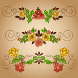 Drawing flowers vignette Stock Photo