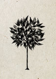 Drawing foliar tree on a beige rice paper. Black silhouette on a beige rice paper.  Graphic arts Royalty Free Stock Image