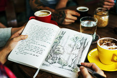 Drawing Forest Plant Coffee Cafe Creative Park Concept Stock Image
