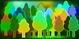 Drawing a forest of trees to decorate childrens products and pro. Ducts. Multicolored cheerful trees Stock Photography
