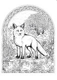 Drawing fox in the frame of the patterns Stock Image