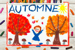 Drawing: French word Autumn, happy girl, trees with orange and red leaves and mushrooms, Royalty Free Stock Image