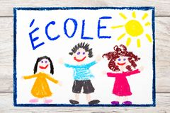 Drawing: French word SCHOOL and happy children. First day at school. Photo of colorful drawing: French word SCHOOL and happy children. First day at school Stock Photography