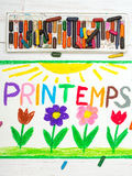 Drawing: French words Printemps Spring and beautiful flowes Royalty Free Stock Photos