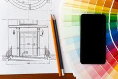 Drawing the front door and color palette. Stock Photos