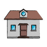 Drawing front view home window loft Stock Photography