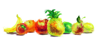 Drawing fruit group Royalty Free Stock Image