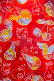 drawing fruit  on red transparent glass Stock Photography
