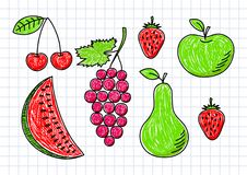 Drawing of fruits Stock Photo