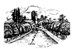 Drawing of the garden and Alcazar Alcazar in Cordoba, Andalucia hand drawn  illustration Stock Photo
