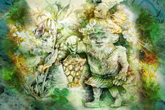 Drawing of garden dwarf with lantern and healing herbs.  Stock Image