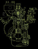 Drawing of gasoline engine Royalty Free Stock Image