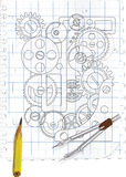 The drawing with gears. On a white checkered background Royalty Free Stock Photography