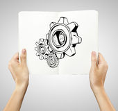 Drawing gears Stock Image
