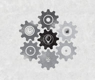 Drawing gears icon Stock Images