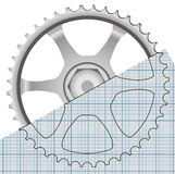 Drawing gears Royalty Free Stock Photos