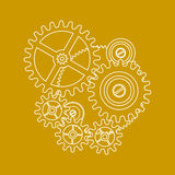 Drawing of Gears on Yellow. White line drawing of machine gears rotating on a yellow background Royalty Free Stock Photo