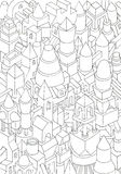 Drawing of geometric forms on a paper or cartoon Stock Image