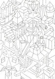 Drawing of geometric forms on a paper Stock Photos