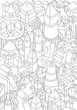 Drawing of geometric forms on a paper Royalty Free Stock Photography