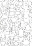 Drawing of geometric forms on a paper Royalty Free Stock Image
