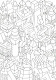Drawing of geometric forms on a paper Royalty Free Stock Photos