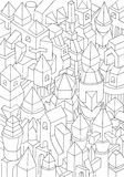 Drawing of geometric forms on a paper, illustration Royalty Free Stock Photography