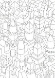 Drawing of geometric forms on a paper, illustration Stock Images