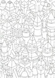 Drawing of geometric forms on a paper, illustration Stock Photo