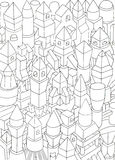 Drawing of geometric forms on a paper, illustration Stock Image