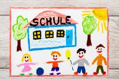 Drawing: German word SCHOOL, school building and happy children. First day at school. Stock Images