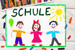 Drawing: German word SCHOOL and happy children. Photo of  colorful drawing: German word SCHOOL and happy children. First day at school Royalty Free Stock Photos