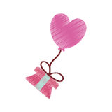 Drawing gift box balloon heart festive valentine flying Stock Photo