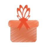 Drawing gift box bow festive celebration. Illustration eps 10 Royalty Free Stock Photo