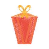 Drawing gift box decorative yellow bow Stock Images